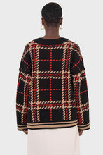 Load image into Gallery viewer, Black and beige bold checked cardigan3