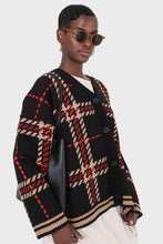 Load image into Gallery viewer, Black and beige bold checked cardigan4