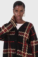 Load image into Gallery viewer, Black and beige bold checked cardigan5