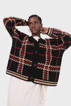 Load image into Gallery viewer, Black and beige bold checked cardigan6