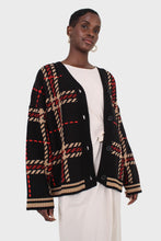 Load image into Gallery viewer, Black and beige bold checked cardigan7