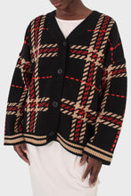 Load image into Gallery viewer, Black and beige bold checked cardigan8