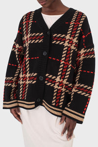 Black and beige bold checked cardigan8