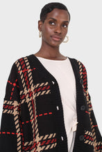 Load image into Gallery viewer, Black and beige bold checked cardigan9