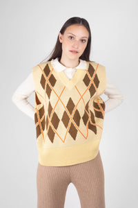 Pale yellow and khaki argyle sweater vest