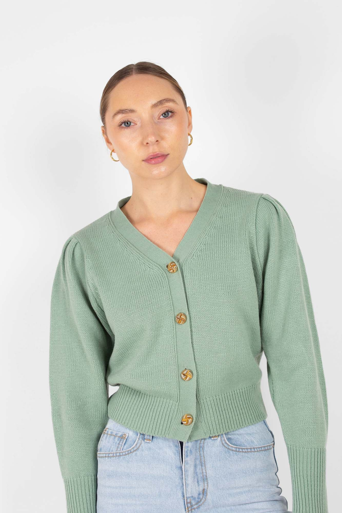 Mint gold button short puff sleeved cardigan2