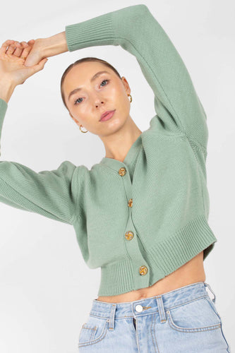 Mint gold button short puff sleeved cardigan1sx