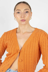 Orange fitted cableknit cardigan1sx