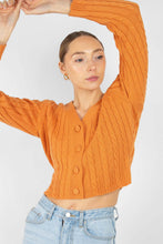 Load image into Gallery viewer, Orange fitted cableknit cardigan2
