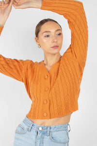 Orange fitted cableknit cardigan2