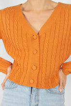 Load image into Gallery viewer, Orange fitted cableknit cardigan3