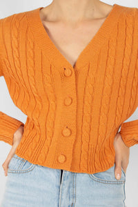 Orange fitted cableknit cardigan3