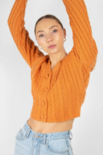Load image into Gallery viewer, Orange fitted cableknit cardigan4
