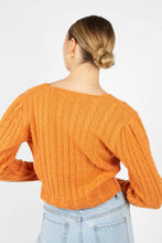Load image into Gallery viewer, Orange fitted cableknit cardigan5