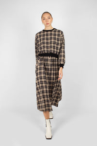 Black and beige checked maxi skirt1sx