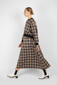 Black and beige checked maxi skirt2