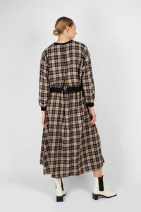 Black and beige checked maxi skirt4