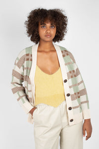 Beige and mint checked cardigan1