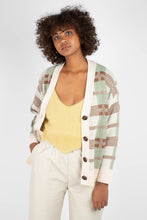 Load image into Gallery viewer, Beige and mint checked cardigan2