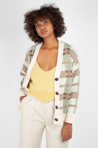 Beige and mint checked cardigan2