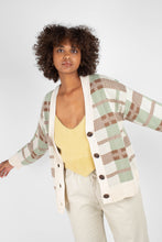 Load image into Gallery viewer, Beige and mint checked cardigan3