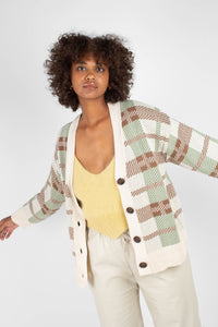 Beige and mint checked cardigan3