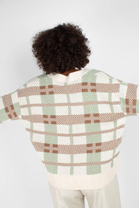 Beige and mint checked cardigan4