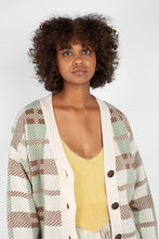 Load image into Gallery viewer, Beige and mint checked cardigan5