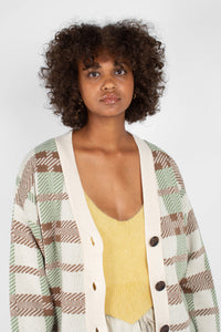 Beige and mint checked cardigan5