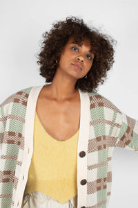 Beige and mint checked cardigan6