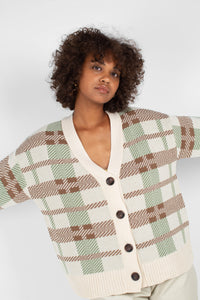 Beige and mint checked cardigan7