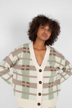 Load image into Gallery viewer, Beige and mint checked cardigan8