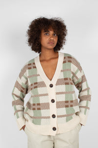 Beige and mint checked cardigan9