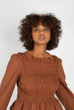 Load image into Gallery viewer, Brown smocked long sleeved top1