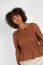Load image into Gallery viewer, Brown smocked long sleeved top2