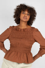 Load image into Gallery viewer, Brown smocked long sleeved top3