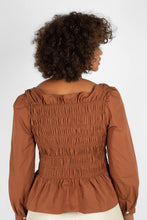 Load image into Gallery viewer, Brown smocked long sleeved top4