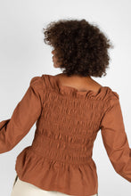 Load image into Gallery viewer, Brown smocked long sleeved top5
