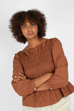 Load image into Gallery viewer, Brown smocked long sleeved top6