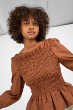 Load image into Gallery viewer, Brown smocked long sleeved top7