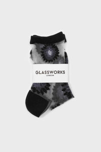 Black large daisy sheer socks1