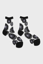 Load image into Gallery viewer, Black large daisy sheer socks sx