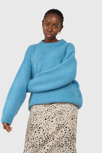 Bright blue oversized crew neck jumper1