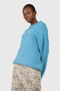 Bright blue oversized crew neck jumper3