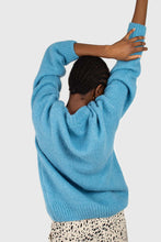 Load image into Gallery viewer, Bright blue oversized crew neck jumper4
