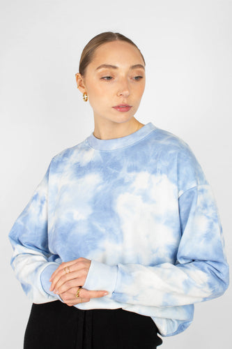 Blue tie dye loose fit sweatshirt1sx