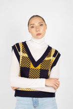 Load image into Gallery viewer, Navy and yellow plaid knit vest1sx