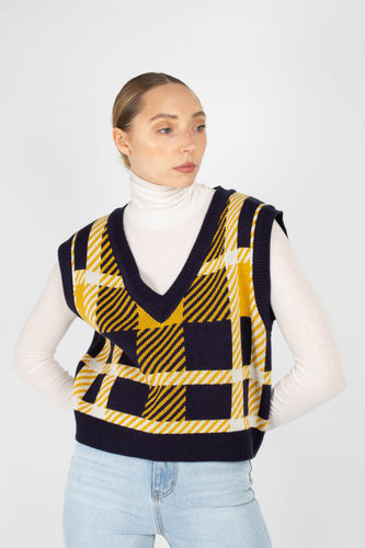 Navy and yellow plaid knit vest2