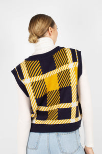 Navy and yellow plaid knit vest3