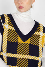 Load image into Gallery viewer, Navy and yellow plaid knit vest4